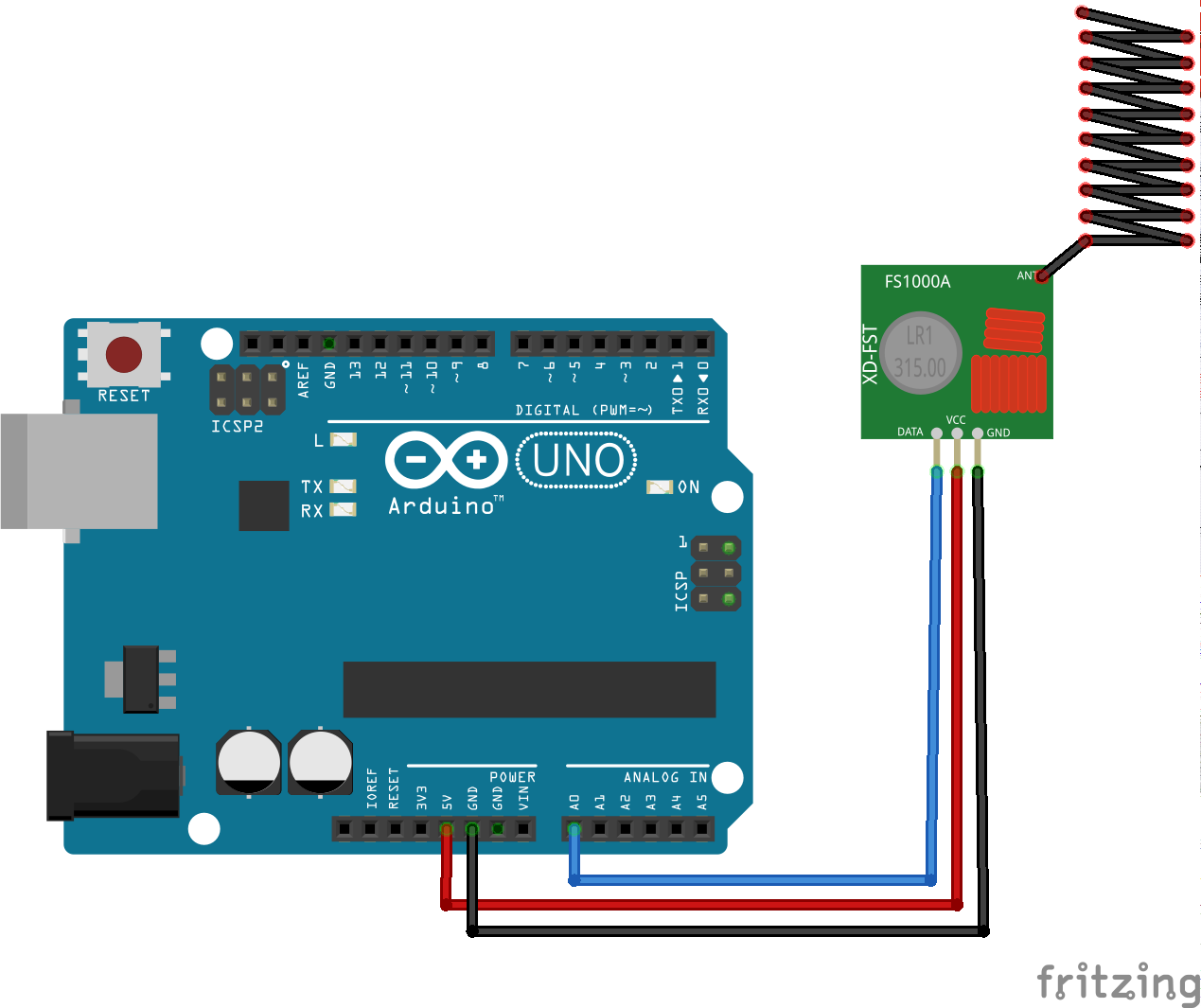 Cablage ultra simple de l'arduino et du module ASK